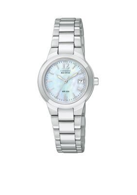 87aa9426aa7a12 Citizen Women's Eco-Drive Ladies' Silhouette With Mother Of Pearl Dial -  Silver - One Size