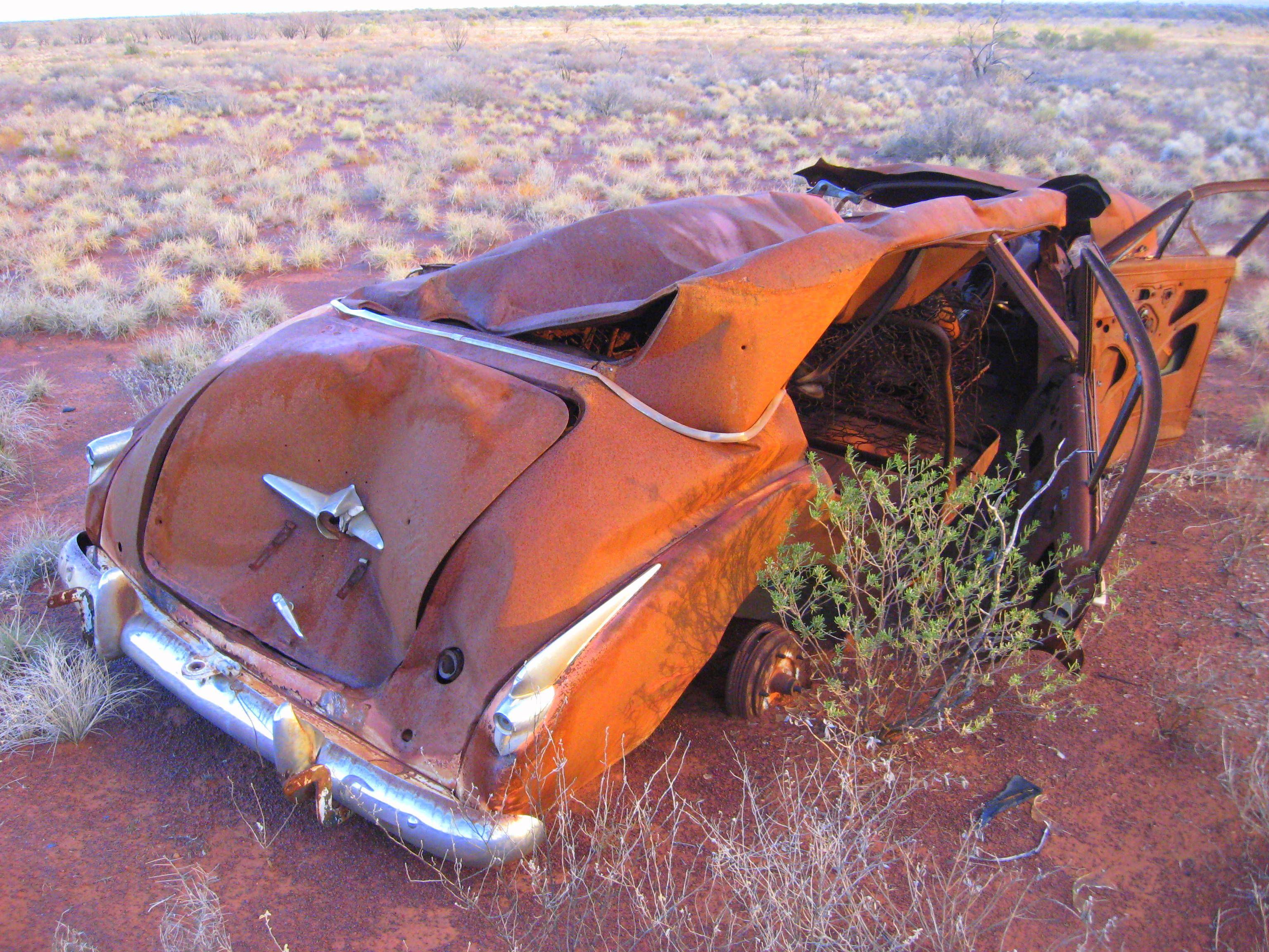 An FJ Holden In The Middle Of Australian Western Desert