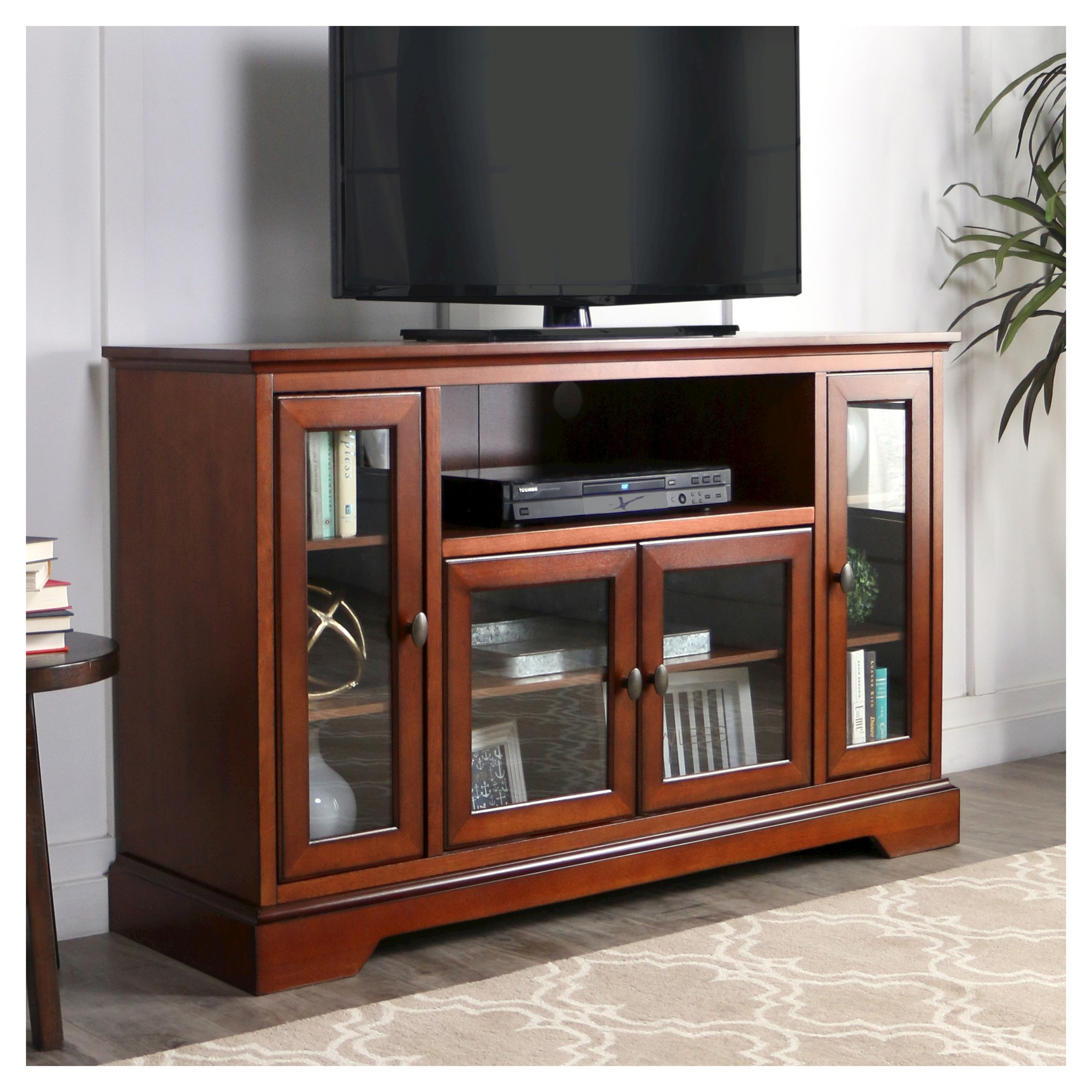 52 Wood Highboy TV Media Stand Storage Console Brown Saracina