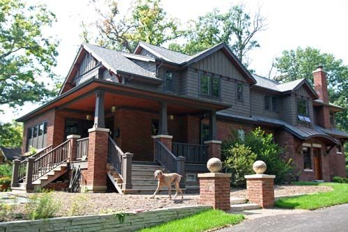 Exterior Red Brick Gray Paint