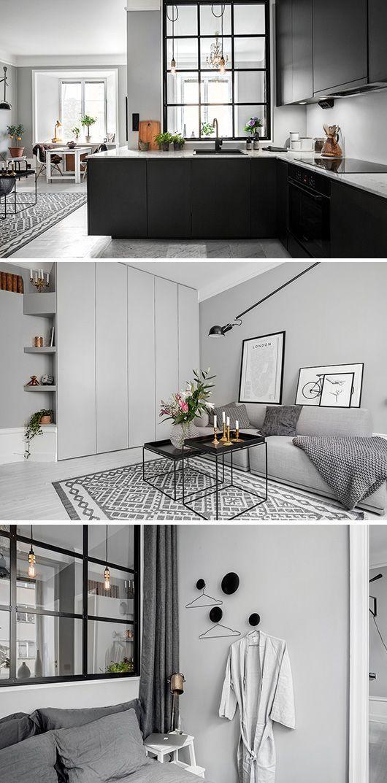 Inpiration för compact living? Kolla in den här lägenheten som är till salu på Polhemsgatan i Stockholm. På 38 kvm har de fått plats med kök, vardagsrum och sovrum. Vad jag tar med mig? Det svarta sta