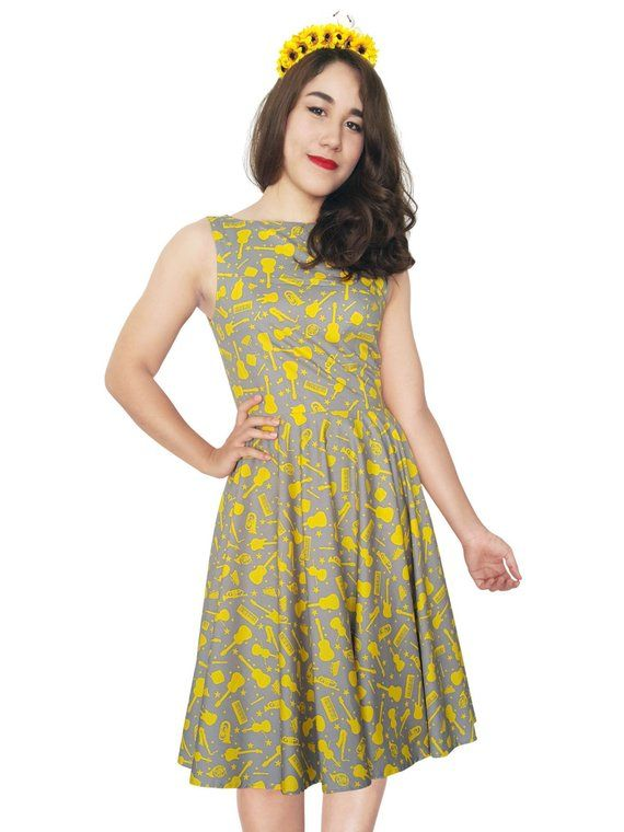 ed7980782d6 Plus Size Dress Yellow Dress Stars Music Dress Concert Dress Party Dress  Pinup Dress Birthday Dress
