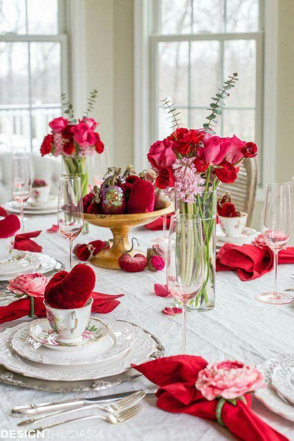 Gorgeous Velvet Hearts Add Plush Texture And Rich Color To The Valentineu0027s  Day Decorations That Adorn This Holiday Tablescape.