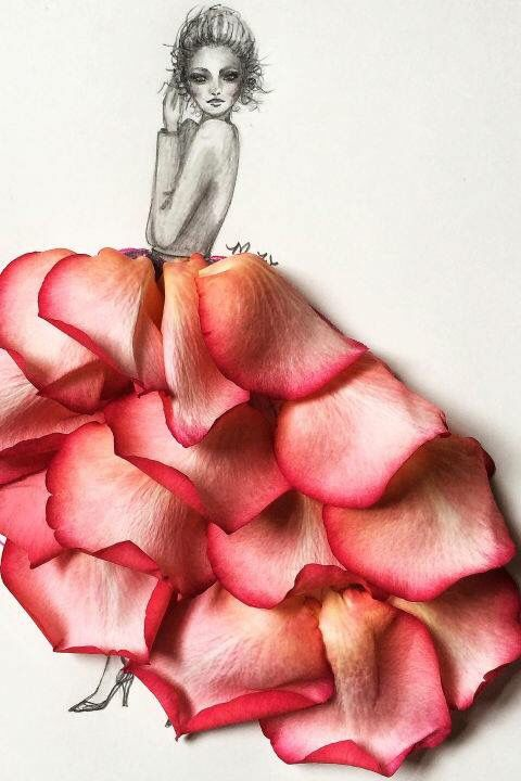 Drawing Of A Girl Wearing A Gown Made From Red Flower