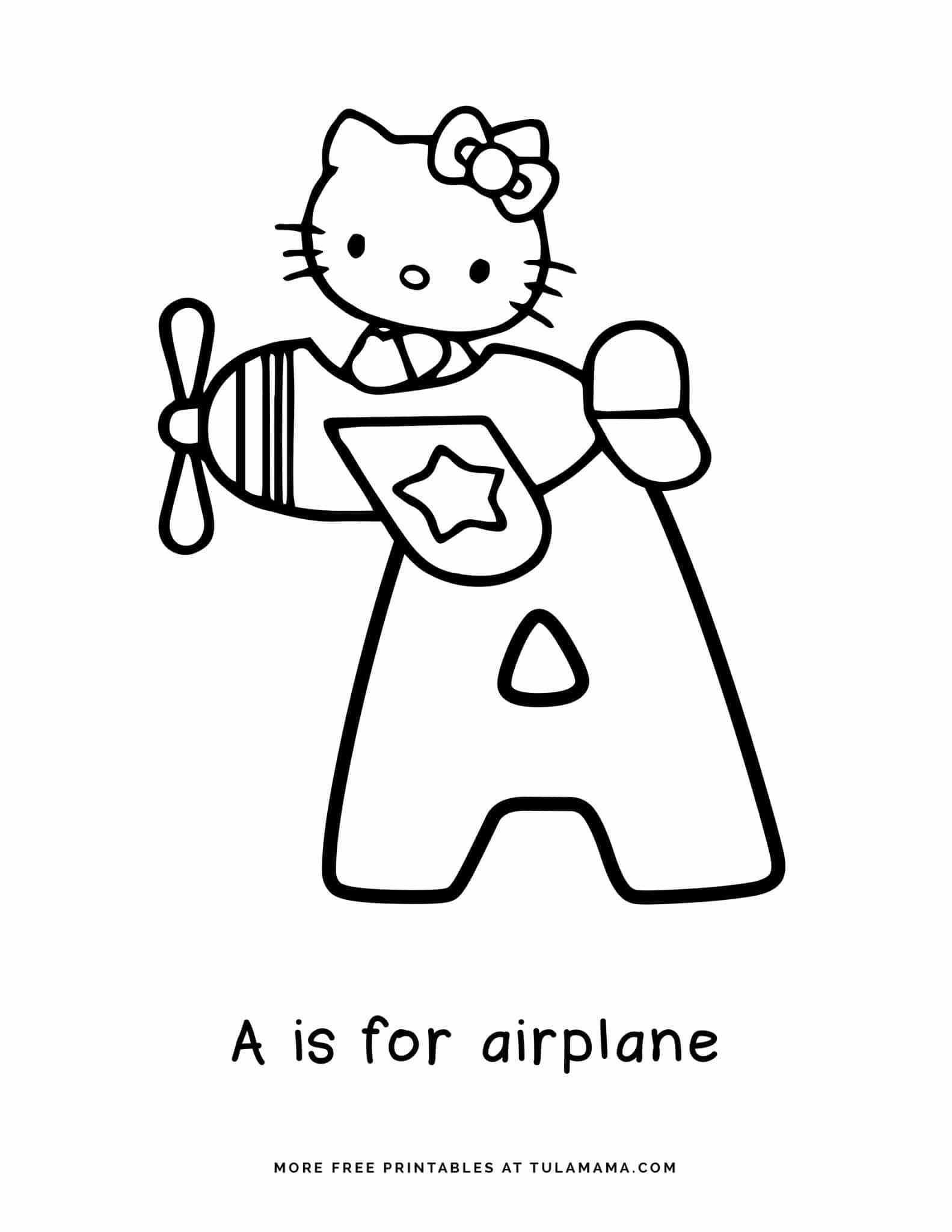 Free Hello Kitty Printables And Abc Coloring Pages In 2021 Hello Kitty Printables Hello Kitty Colouring Pages Hello Kitty Coloring