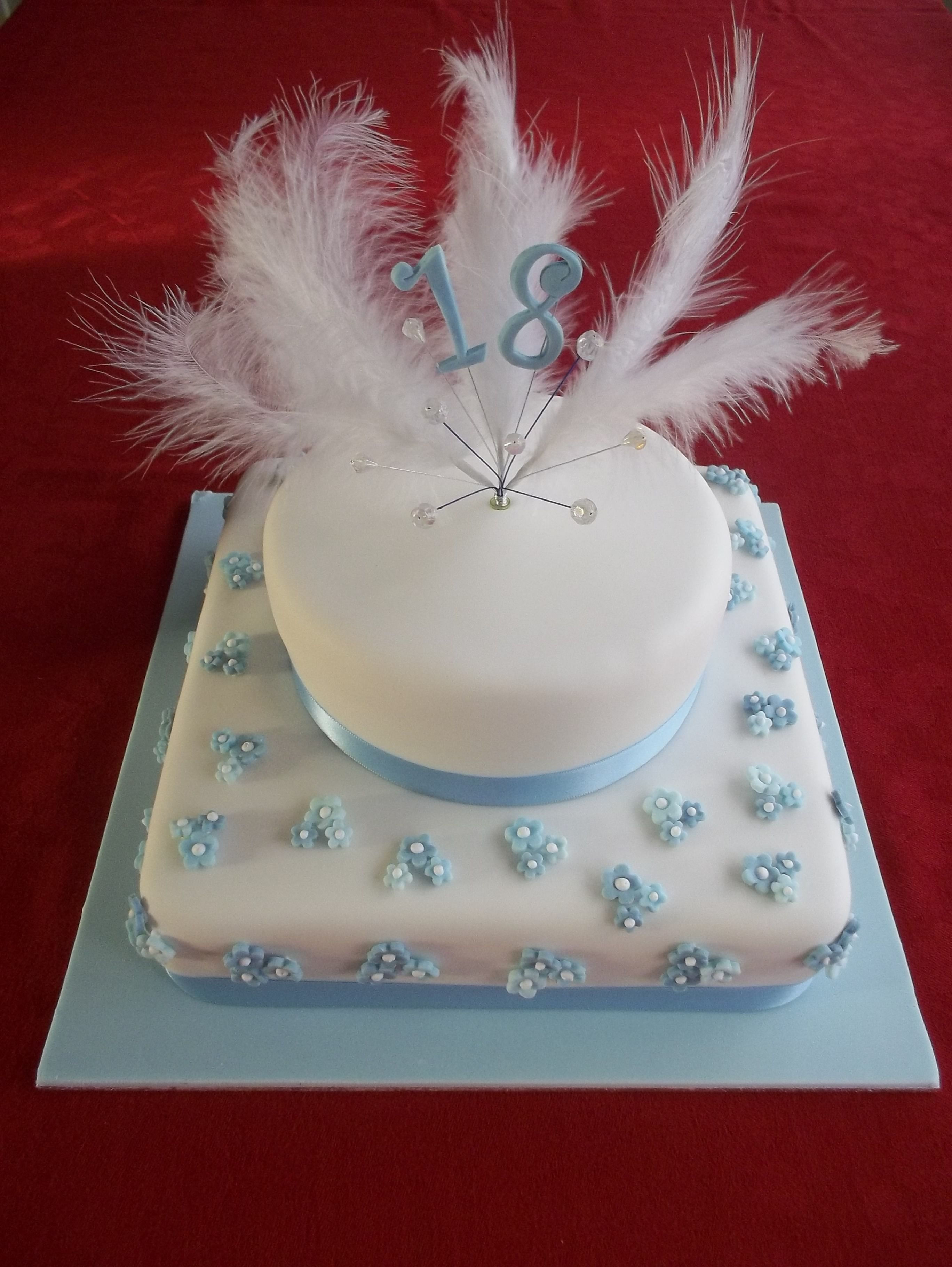Blue And White Happy 18th Birthday Cake Cakes Pinterest 18th