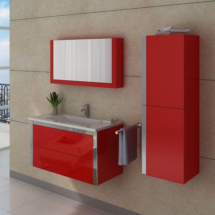 Meubles salle de bain DIS025-900CO Rouge Coquelicot Toilet and Modern