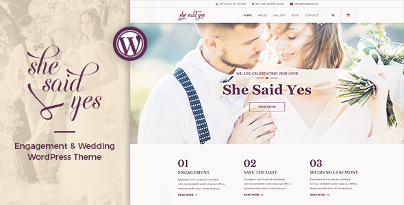 SheSaidYes - Engagement & Wedding WordPress Theme | Wordpress ...