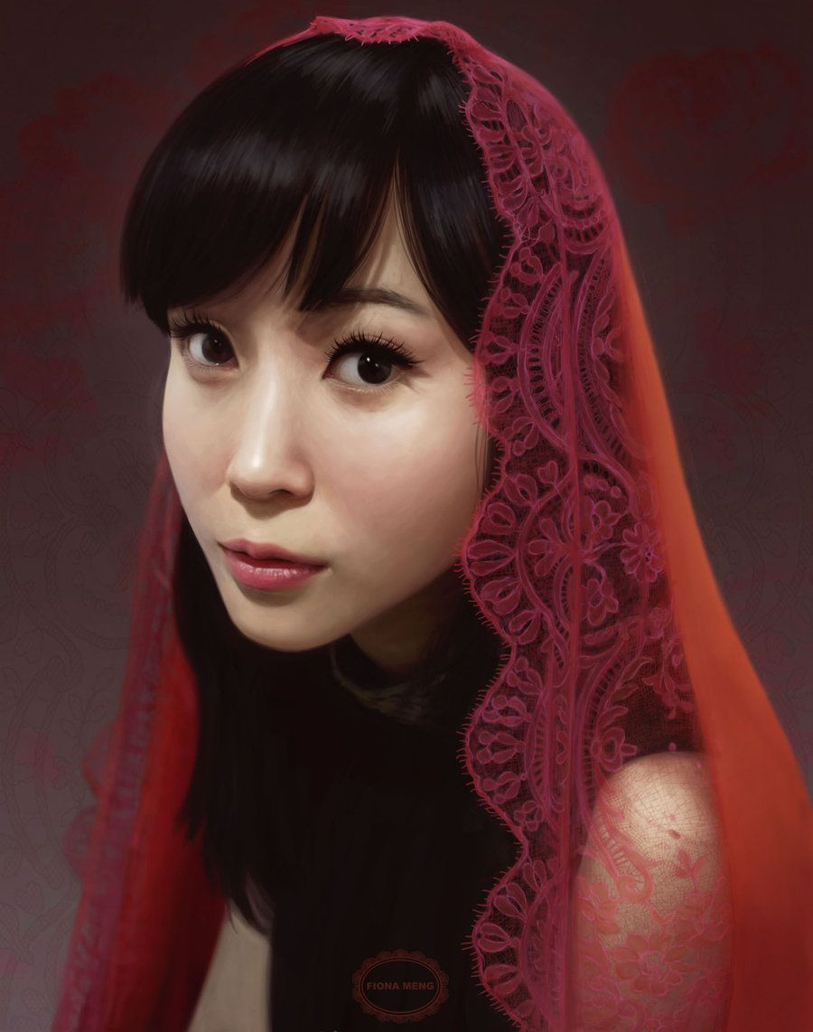 Girl With a Red Scarf by FionaMeng.deviantart.com on @DeviantArt