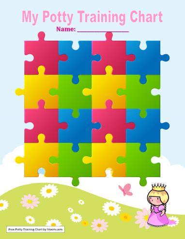 Puzzle Piece Princess Potty Training Chart Template Potty Training - workout char template