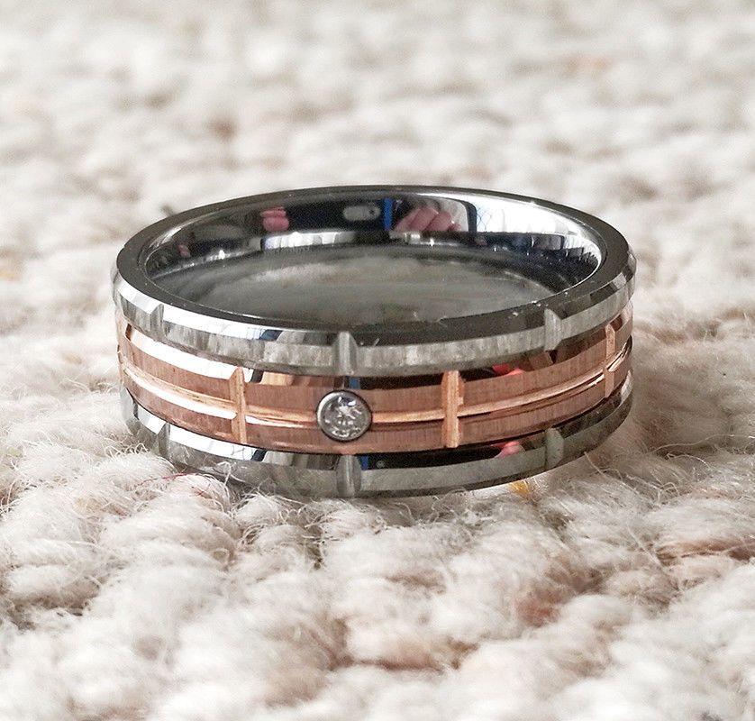 Tungsten Carbide Men's Zircon Wedding Band Diamond Created