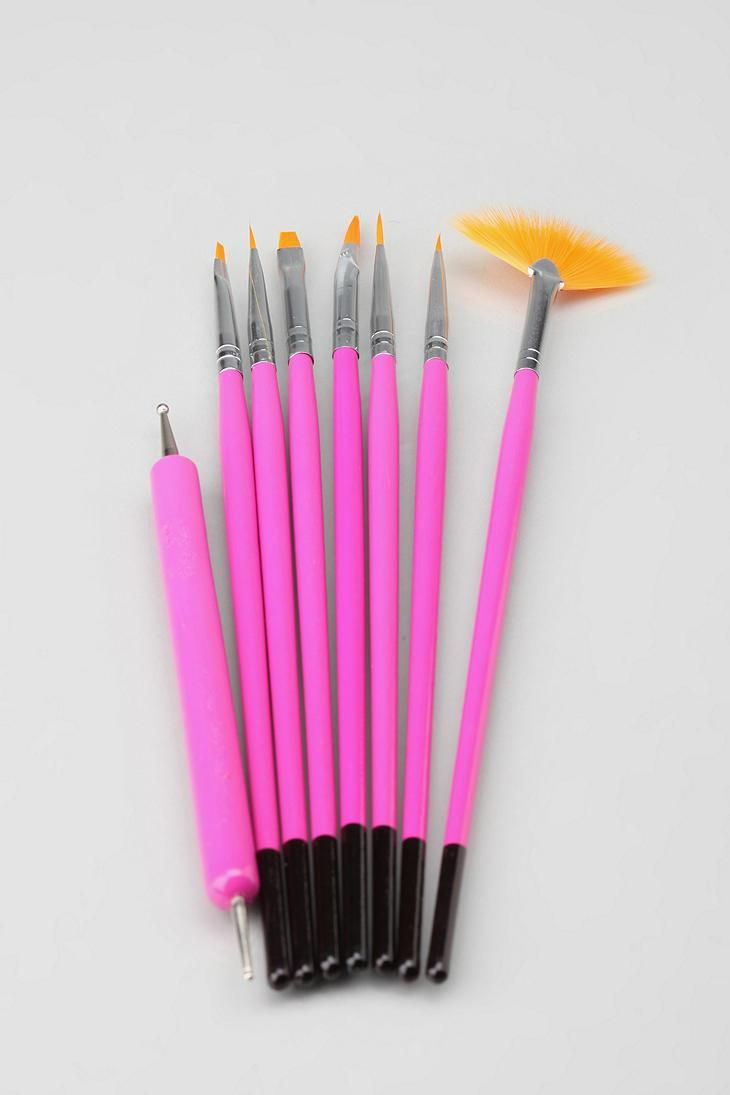 Npw 8 Piece Nail Art Brushes And Tools Urbanoutfitters Makeup