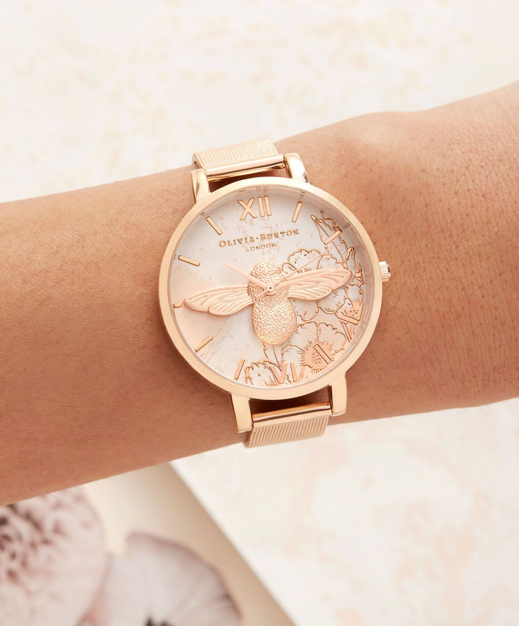 ec4d8033e664 OLIVIA BURTON LONDON Abstract Florals Rose Gold Mesh OB16VM26 – Big Dial  Round in Rose Gold - Other view