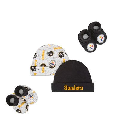 Take a look at this Black & White Pittsburgh Steelers Beanie & Booties Set by NFL on #zulily today!