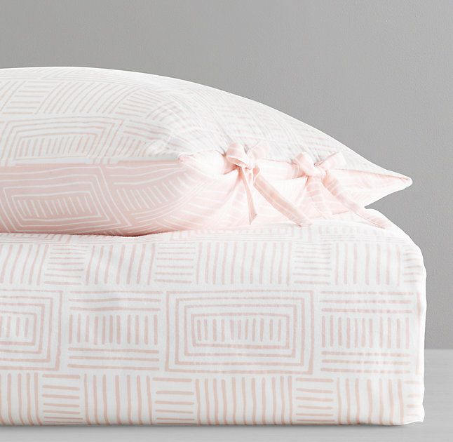 RH Baby & Child's Mali Print Ultra-Fine Organic Cotton Lines Duvet Cover:Lightweight organic cotton is printed with geometric patterns inspired by traditional mud cloth designs from Mali. Woven from ultra-fine fibers and sewn with two layers of fabric, our bedding offers the pinnacle of softness and purity, durability and drape.