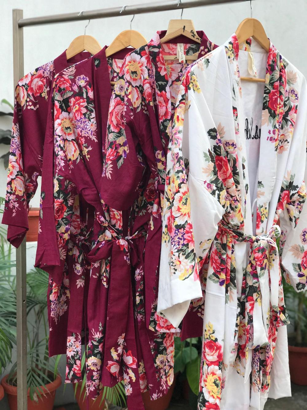 Bulk SALE Maroon floral robe Bridesmaids robes burgundy