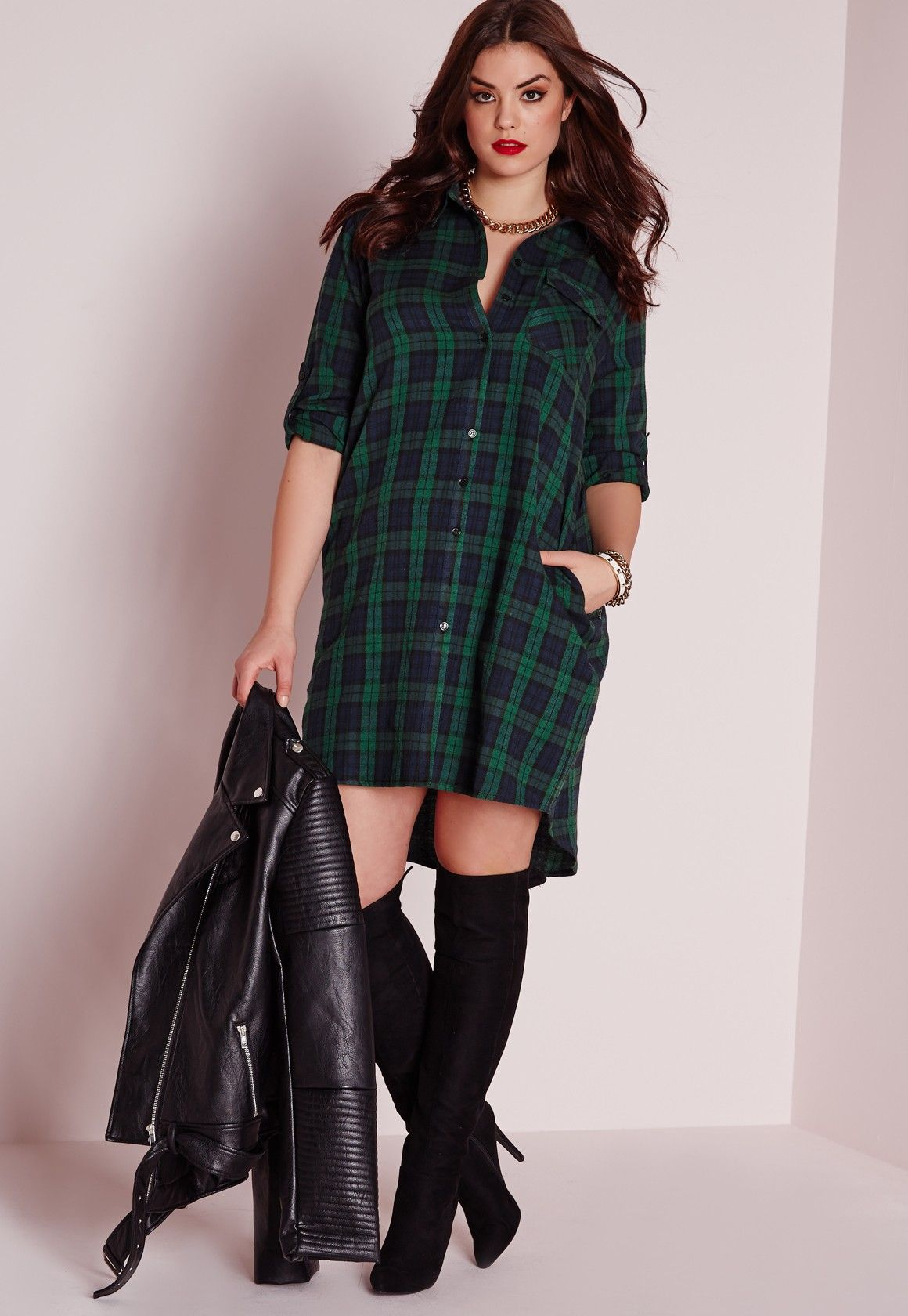 bb3f11b1b1 Missguided - Plus Size Checked Shirt Dress Green