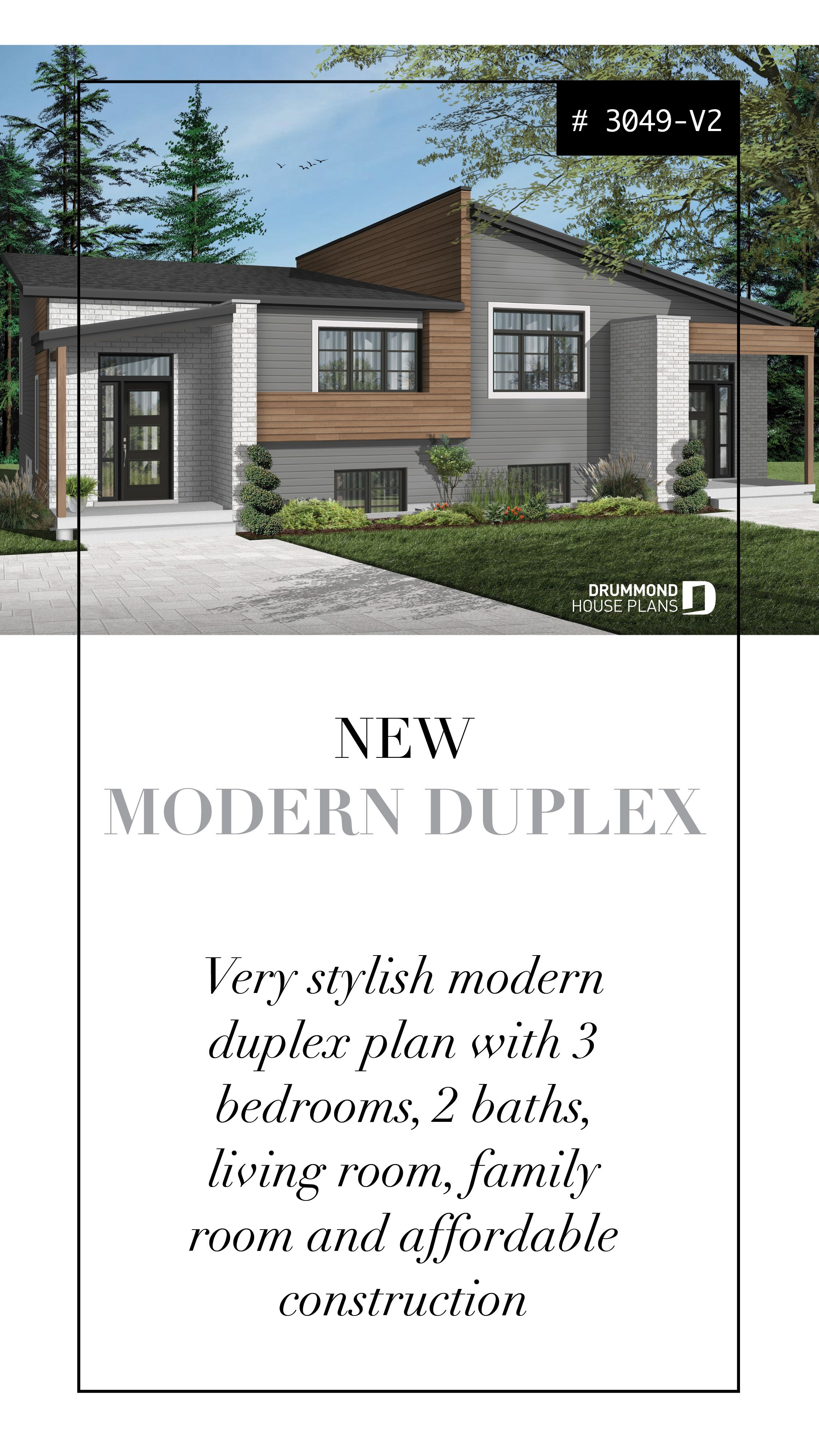Discover The Plan 3049 V2 Lucinda 3 Which Will Please You For Its 3 Bedrooms And For Its Contemporary Styles Duplex Plans Family House Plans Modern Style House Plans