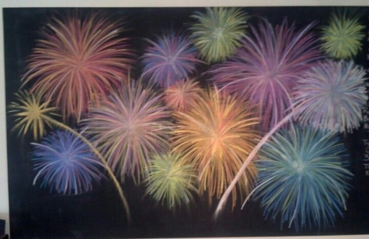 chalk art Fireworks | Chalkboard art | Pinterest ...