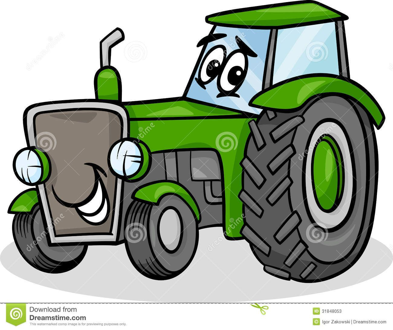 Cartoon Tractor | Cartoon Illustration of Funny Farm Tractor Vehicle ...