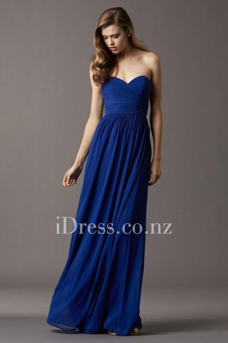 Strapless floor length sweetheart blue chiffon bridesmaid dress strapless floor length sweetheart blue chiffon bridesmaid dress from idress ombrellifo Gallery