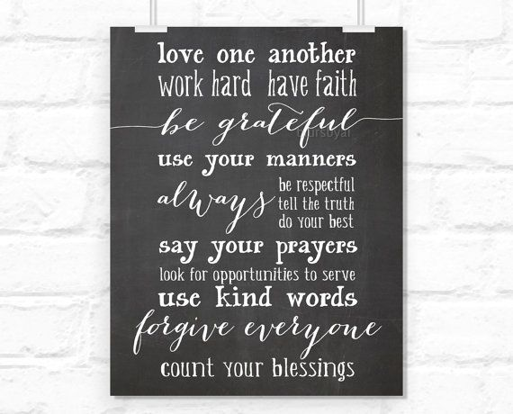 """Chalkboard printable poster """" Love one another, be ..."""