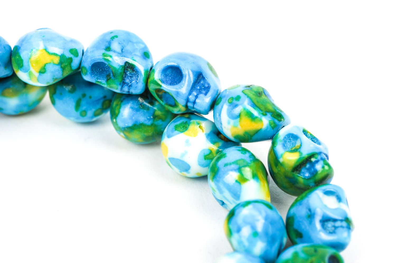 10mm Howlite Skull Beads Marble Blue Green Yellow White Etsy Beaded Skull Turquoise Skulls Jewelry Making Supplies