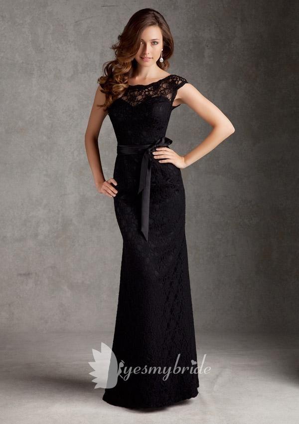 Boat Neck Black Lace Trumpet Floor Length V-back Bridesmaid Dress ...
