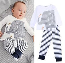 a37709a7a78 Niño Bebé Recién Nacido Lindo Elefante Ropa Camiseta + Pantalones Conjuntos  Set De 0 ~ 24m