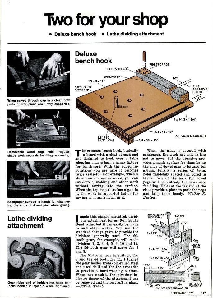 Deluxe bench hook. Popular Mechanics, circa Feb. 1976, page 117 #woodcarvingtoo