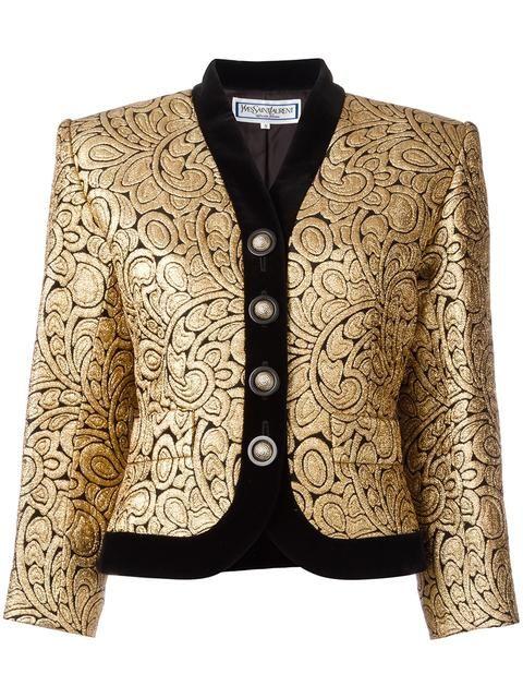 3b3d778929d Yves Saint Laurent Vintage brocade jacket Silk Jacket, Gray Jacket, Blazer  Jacket, Metallic