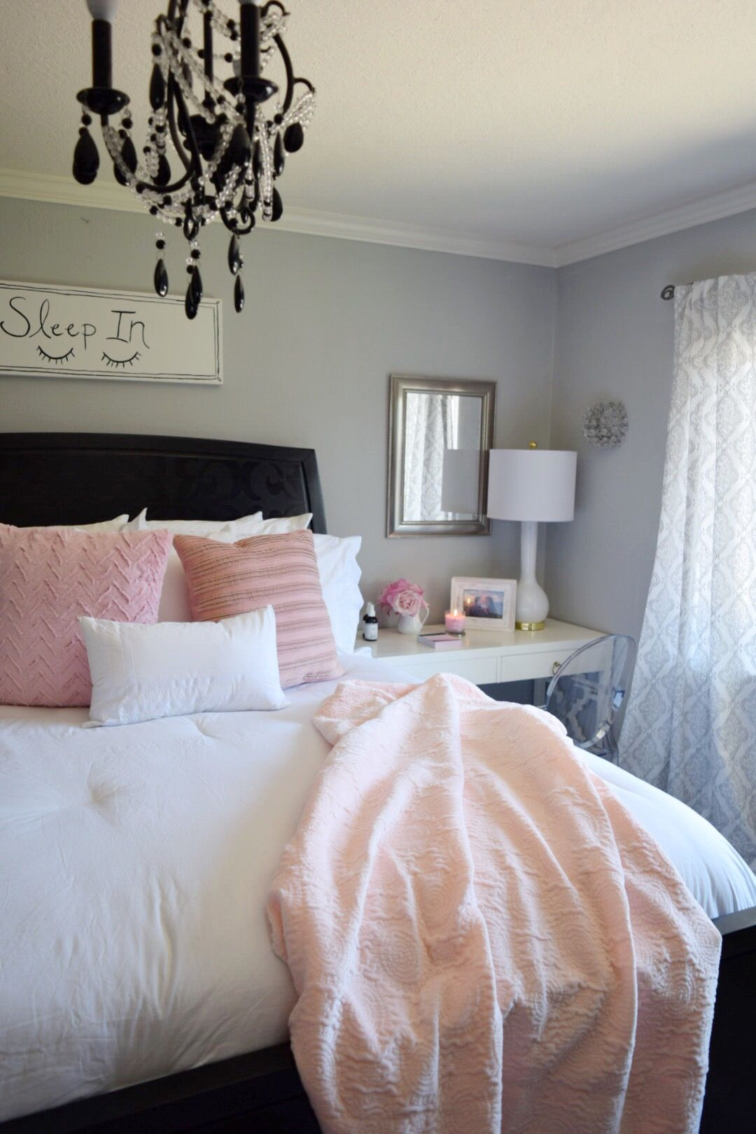 Create a romantic bedroom with bright whites and pale blush and ...