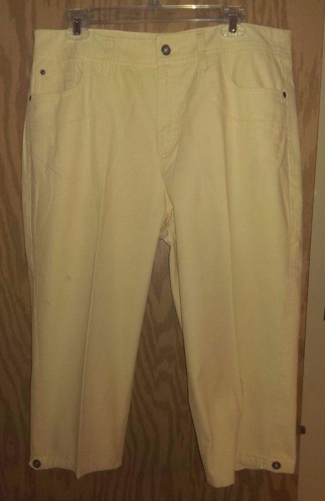21d28c32d98 Christopher   Banks Light Yellow Capri Cropped Pants~Plus Size 16~100%  Cotton