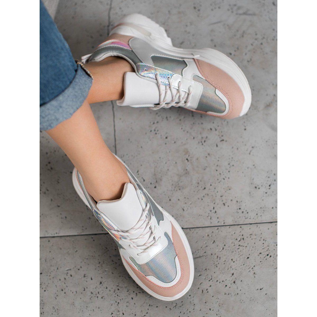 Shelovet Wygodne Sneakersy Na Platformie Biale Wielokolorowe Sneakers Nike Nike Cortez Sneaker Sneakers
