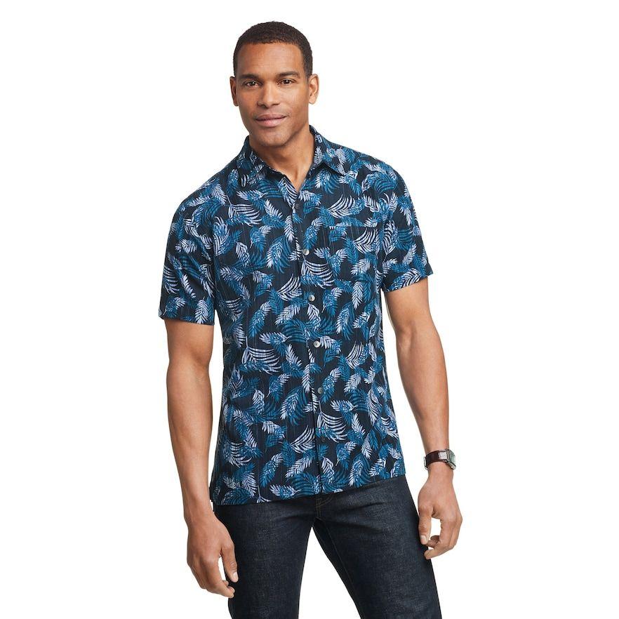 Men S Van Heusen Air Printed Short Sleeve Shirt Size Large Blue Button Down Shirt Printed Shorts Shorts With Pockets
