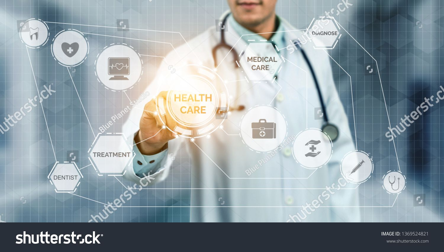 Medical Healthcare Concept Doctor In Hospital With Digital Medical Icons Graphic Banner Showing Symbol Of Medicine Medical Medical Health Care Medical Icon