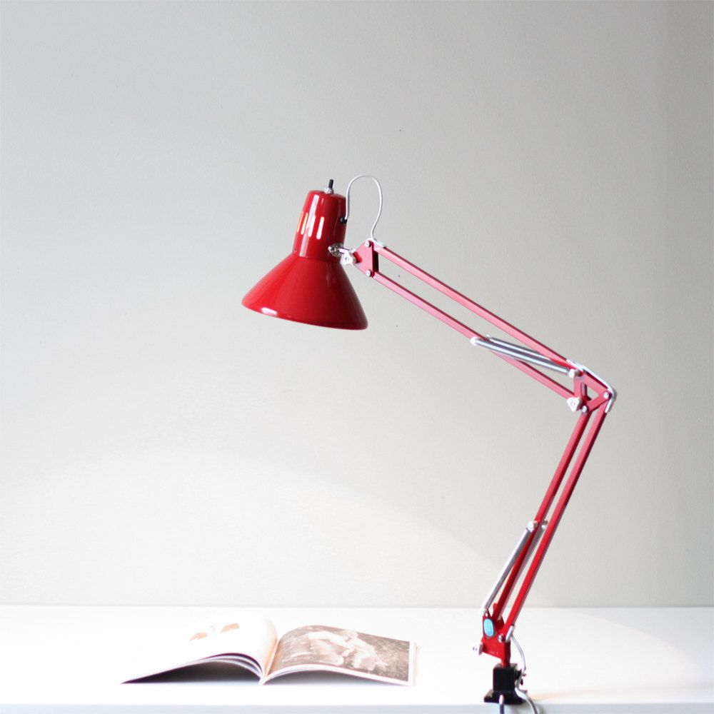 Vintage anglepoise style red desk lamp / architect table ...