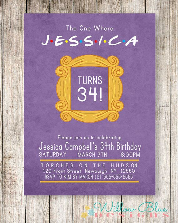 Friends Theme Birthday Invitation WillowBlueDesigns