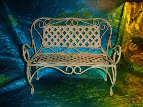 Antique Vintage 1920s 30s Wrought Iron Rare Doll Bench