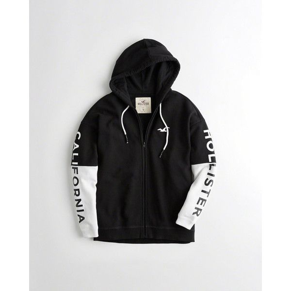 fd9f3a4a3cd5 Hollister Graphic Full-Zip Oversized Hoodie ($50) ❤ liked on Polyvore  featuring tops, hoodies, black, oversized hoodies, hooded sweatshirt, color  block ...
