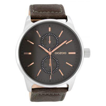 Herrenuhr in modischem Design mit Lederarmand.  https://www.uhrcenter.de/uhren/oozoo/timepieces/oozoo-herrenuhr-grau-c7838/