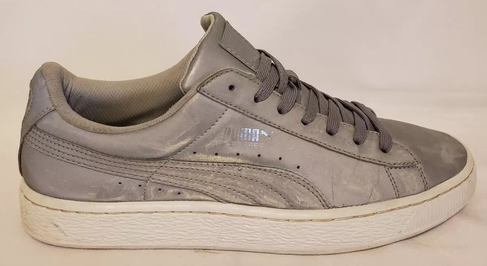 Puma Basket Reflective Silver Metallic White Grey Sneakers Size 9  fashion   clothing  shoes  accessories  mensshoes  athleticshoes (ebay link) 51b407867