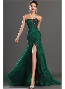 Trendy  Strapless Trumpet Split-Front Ruched Appliques Beading Evening Dress & modest Evening Dresses