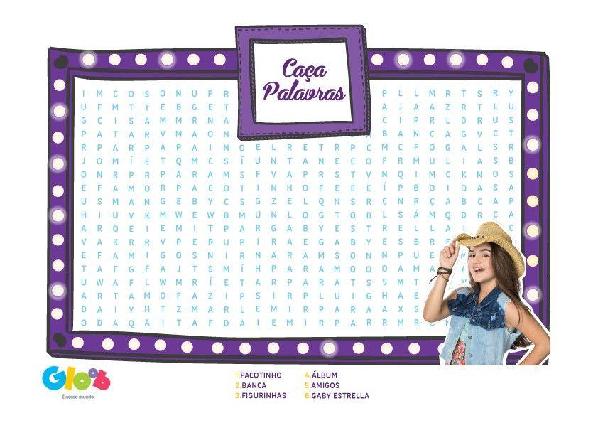 04675d18988  Álbum da Gaby  Caça Palavras - Atividades - Gaby Estrella - Mundo Gloob