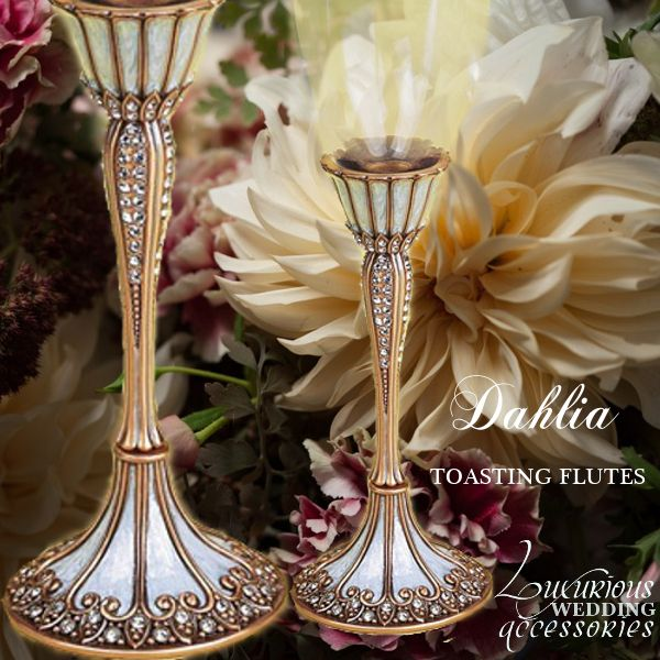 The Dahlia Gold Swarovski Crystal Wedding Toasting Flutes Are Part Of Museum Collection From Luxurious Accessories Will Coordinate With