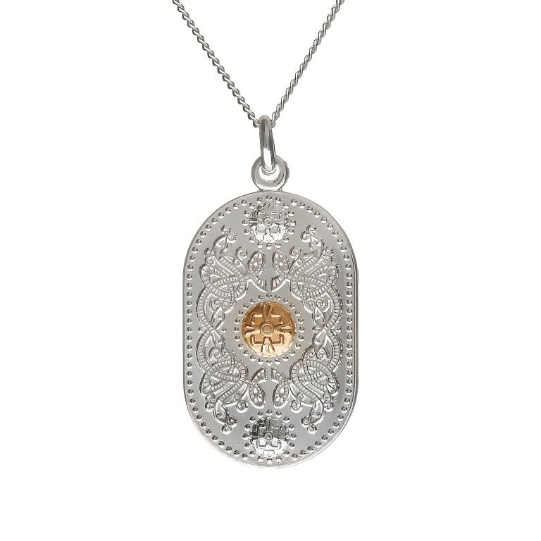 Small Pendant With 10Ct (20mm Gold Boss) #houseoflor #irishjewelry #irishgold #pendant #sterlingsilver #arda #handmade #celticjewelry