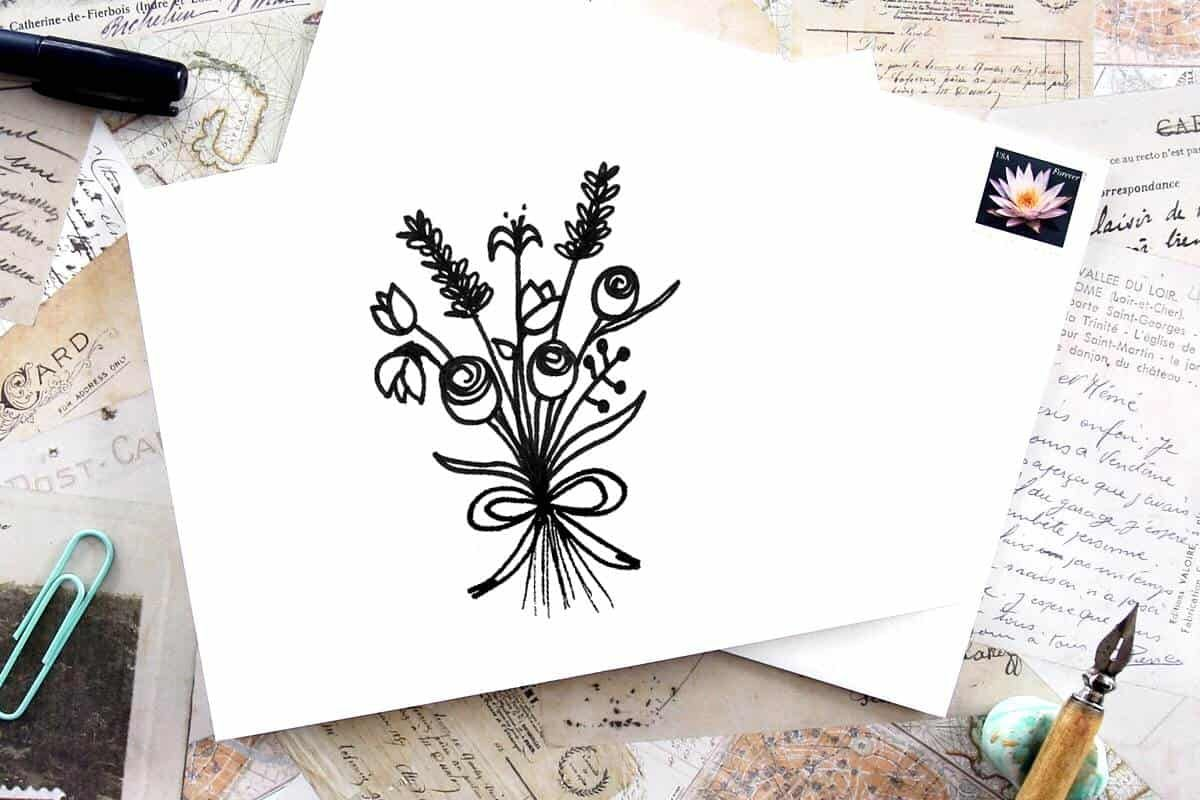 Easy flower bouquet drawing step by step tutorial flower