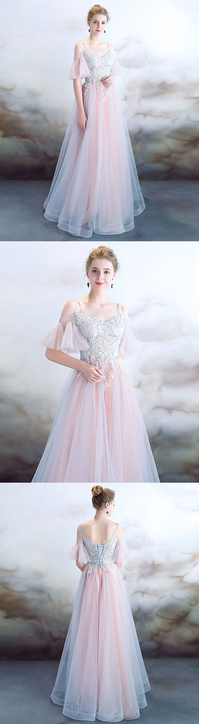 Elegant light pink tulle long prom dress pink evening dress in