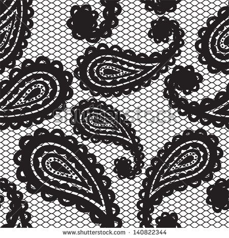 Lace black seamless pattern with paisley on white background