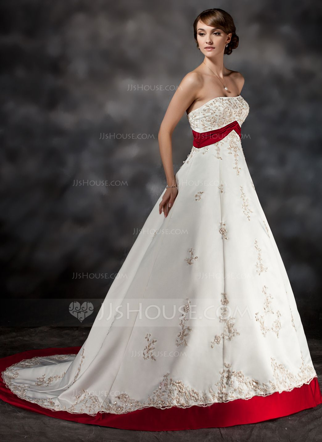 Ball Gown Strapless Court Train Satin Wedding Dress With Sash Beading Appliques Lace 002017432